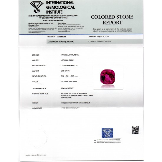 64f0de752 0.85 Ct IGI Certified Unheated Untreted Natural Mozambique Ruby AAAAA