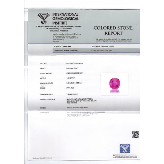 dcdf6c188 1.20 Ct IGI Certified Unheated Untreated Natural Old Burma Ruby AAA