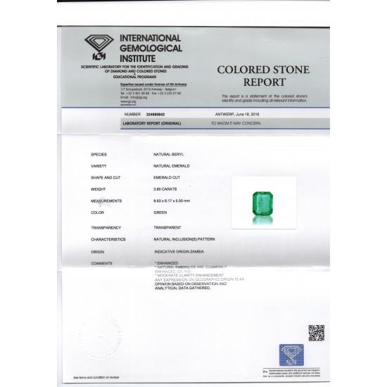 37c965b0c 3.60 Ct IGI Certified Untreated Natural Zambian Emerald Gemstone AAA