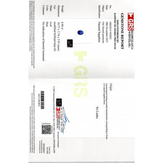 486bc6183 4.04 Ct GRS Certified Unheated Natural Ceylon Blue Sapphire AAAA