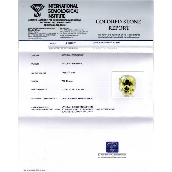 9a9a0983f 7.96 Ct IGI Certified Unheated Natural Ceylon Yellow Sapphire Gems